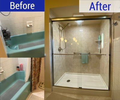 Old blue bathtub replaced in New Berlin, WI with a new, walk-in shower
