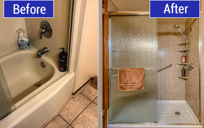 Before and After Photo of Tub to Shower Conversion in Saukville, WI