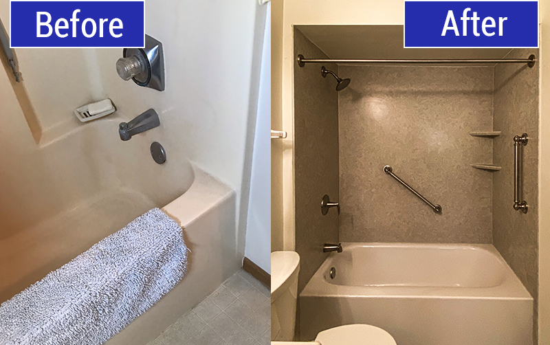 Before and After of Bathtub Replacement in Franklin, WI